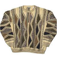 Vintage Bachrach Men's Size L Coogi Like Sweater Hip Hop Biggie 3D Texturized