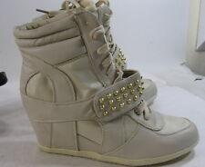 "Women's Skintone/Gold Spikes 3"" High Wedge Heel Ankle Boots Front Strap Size 9"
