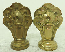 FABULOUS PAIR FRENCH ART DECO FINIALS BRONZE FLORAL FOR CURTAIN POLE DRAPES