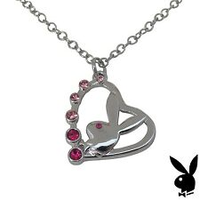 Playboy Necklace Bunny Pendant w Chain Silver Plated Charm Swarovski Crystal Box