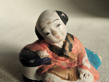 1.5 inch Japanese clay doll : Samurai whose hand lays on the armrest