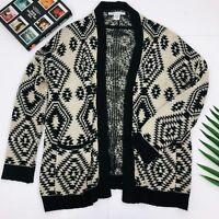 Sans Souci Womens Black/Tan Aztec Print Cardigan: Sz M