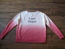 Peace Love World  Dusty Rose I AM HOPE Dip Dye Fleece Sweatshirt Top - Size S