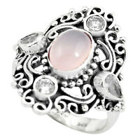 4.54cts Natural Pink Rose Quartz Topaz 925 Sterling Silver Ring Size 9 P61182