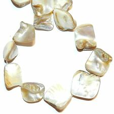 MP1144L White Natural 14-22mm Diamond Nugget Mother of Pearl Shell Beads 15""