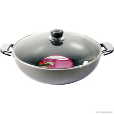 32cm Non Stick Wok with Glass Lid and Stir Frying Pan Long Double Handle 15138c