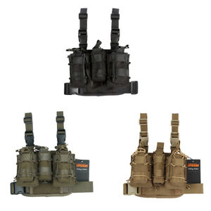 Tactical Double Strap Molle Panel Drop Leg Mag Bag Pouch Set Hunting Carrier