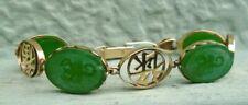 Vintage 14k gold Jade Jadeite Luck Long life Scorpion Oriental bracelet 14.7g