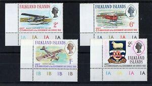 QEII FALKLAND ISLANDS 1969 AIR SERVICES SET CYL. MARGINAL UMM SG; 246 / 49