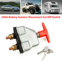 12/24V 250A Disconnect Battery Isolator Cut Off Kill Switch Key Car Marine Boat