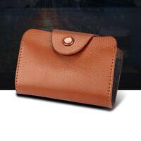 BROWN Classic Minimalist Genuine Leather Wallet Small Mini Credit Cardholder