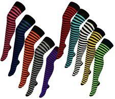 OVER KNEE Cotton Rich Womens Stripy Horizontal High Long Socks Tights Stockings