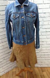 Boho Frilled Hem Western Vintage 90s Tan Midi Skirt Suede Skirt Size 42