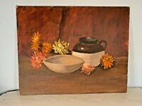 Charming Vintage original Oil painting unsigned still life floral browns orange
