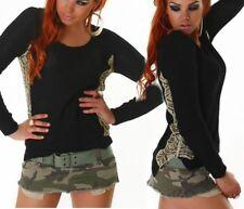 ♥ SeXy Miss Damen Pullover Strick Stickerei Trendy Pulli 34/36/38 schwarz gold
