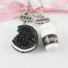 2pce Best Friends Chocolate Cookie & Coffee Friendship Charm Necklaces 44cm