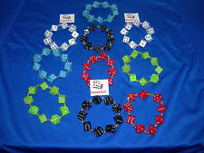 NEW 10 HAND MADE ASSORTED DICE BRACELETS RED, BLUE, GREEN, BLACK AND WHITE