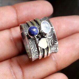 Lapis Lazuli 925 Sterling Silver Spinner Ring Meditation statement Ring tt119