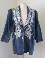 Vtg 90s Denim Stone Acid Wash Embroidered Silver Jean Jacket Sz L Retro Costume