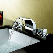 Bathroom Basin Sink Waterfall Faucet Tap Brass Chrome Finish Deck Mount Modern