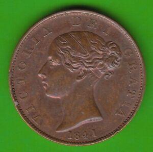 United Kingdom Halfpenny 1841 Better Than XF Good nswleipzig