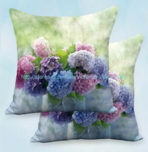 Set of 2 hydrangea flower cushion covers home decoration pillow cases