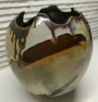 "VTG MCM drip glaze ceramic vase BOHO white brown art POTTERY unique ~6"" signed"