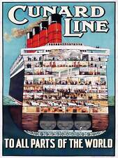 TRAVEL CRUISE SAIL SHIP CUNARD CROSS SECTION VINTAGE ADVERTISING POSTER 2231PY