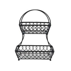 Gourmet Basics - Mikasa 2 Tier Loop Pattern Flatback Wire Basket Antique Black