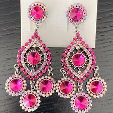 Fuchsia Hot Pink Fashion Designer Earrings made with Genuine Swarovski Elements