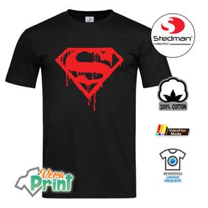 T-Shirt Maglia Maglietta Superman Blood Log Rossa Nera Bianca Uomo Donna Ragazzo