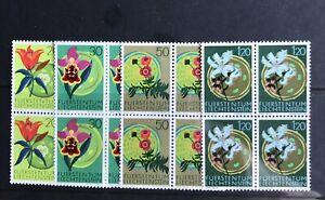 LIECHTENSTEIN:  Flowers I  1970 Mi 521/524 SG 519/522 MNH Blocks of 4
