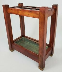 Vintage Mission Umbrella Cane Stand Oak And Brass  Arts & Crafts Copper Drip Pan