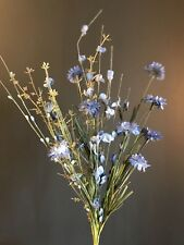 Blue Artificial Meadow Flower Bunch, Realistic Faux Wild Cornflowers & Greenery