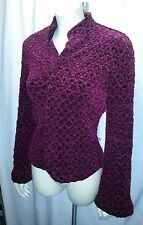 FALL SALE LOVELY CACHE BURGUNDY KNUBBY S/8 JACKET WITH BELLED SLEEVES