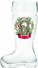 Hand Blown Glass Beer Boot: Harvest Crest