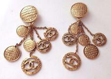 "Vintage Channel RARE Paris CC Logo Clip on Earrings 4"" Heavy Gold Tone"
