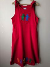 90s Vintage Red Corduroy Pinafore Dress 16 Appliqued Kids Teacher Nursery Nanny