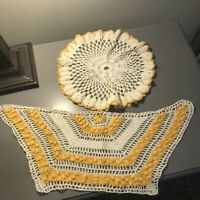 "Vintage Mid Century Hand Crocheted Yellow Gold Doilies 3D 20"" and 12"" Set of 2"