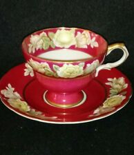 CHIYODA HIN HAND PAINTED TEA CUP & SAUCER JAPAN MAROON WHITE ROSES GOLD TRIM