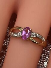 Vintage 10ct Gold Diamond & Pink Stone Ring  1.32 g.  Marked