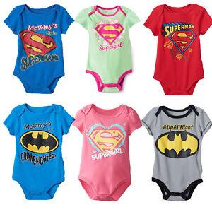 New Superhero Baby Boys Girls Supergirl Summer Romper Suit Fashion Babygrow Top