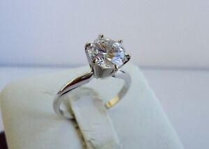 14K WHITE GOLD SOLITAIRE WEDDING RING W/ 3 CTS ROUND DIAMOND SIZE 6,7,8