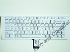 "SONY VAIO VPC-EA 14"" WHITE US KEYBOARD V081678F 148792421 V11678A With Frame NEW"