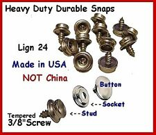 """30 5/8"""" Stainless Steel Screw Studs Lign 24 Nickel Snaps w/ Tools Made in Usa!"""