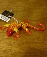 "Dynasty Gallery Handblown Art Glass #26857R  RED GECKO ORNAMENT, Mint/Box 3"""