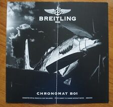 Breitling Chronomat B01 Watch Price List Brochure 2009 / 2010 Creased in Centre