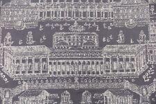 "ZOFFANY CURTAIN FABRIC DESIGN ""Rome"" 2 METRES CHARCOAL/LINEN 100% LINEN"