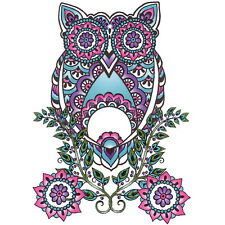 """Body Art"" Temporary Tattoo, Owl & Flowers in Ornate Design, USA Made"