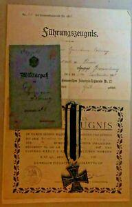 MEDAL GERMAN WW1 MEDAL/PAPERWORK GEFREITEN HERMANN NEHRING 2 KOMP. DANZIGER INF